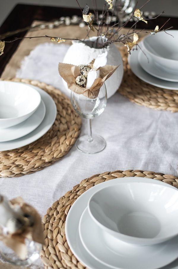 Decoración de mesa de estilo nórdico rústico en tonos neutros, y accesorios sencillos @utrillanais