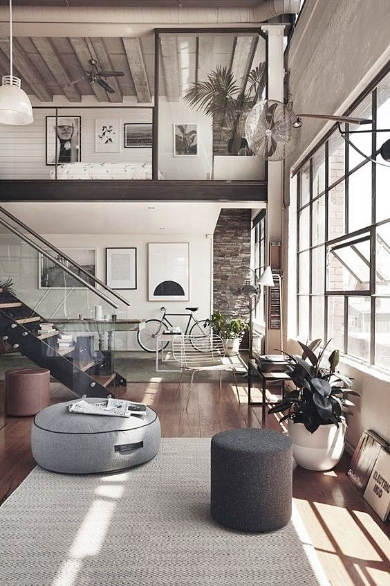 Decoración de interiores de estilo industrial, loft