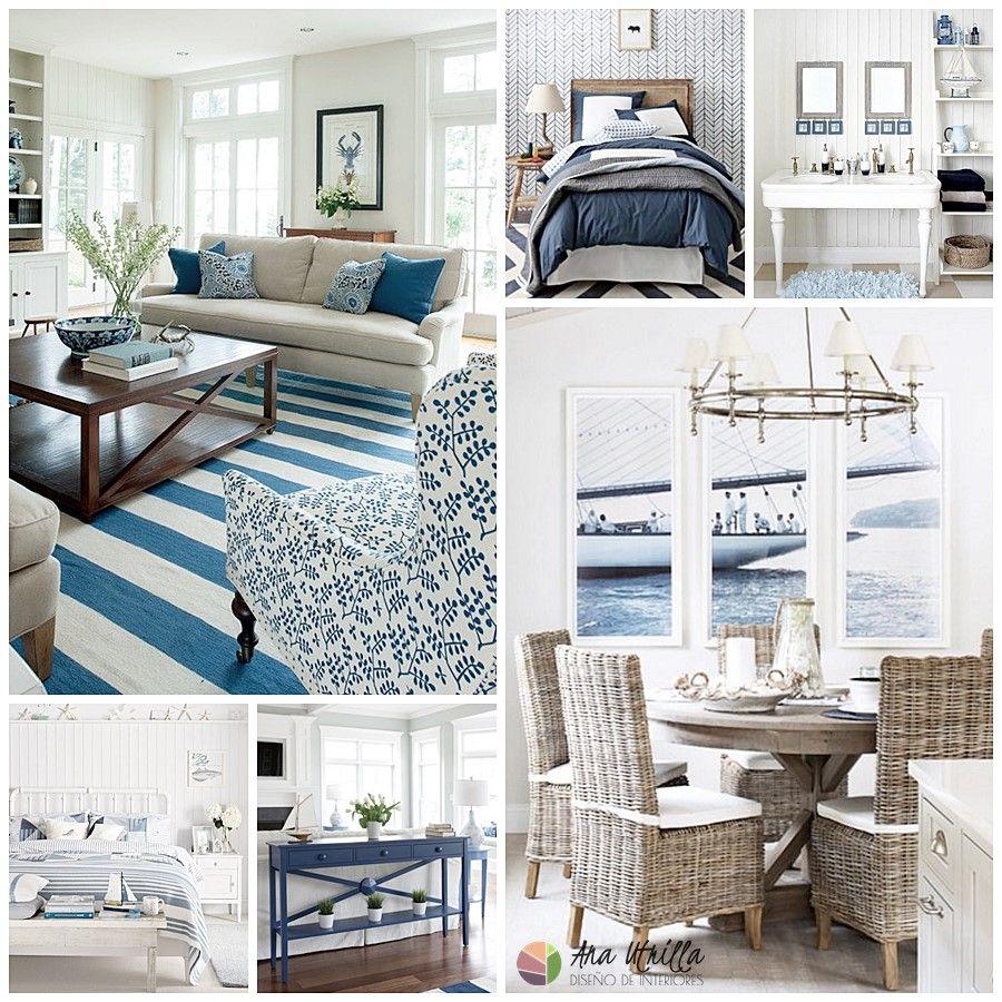 Decoración de interiores estilo navy o naútico, espacios de salón-comedor, habitaciones o baño