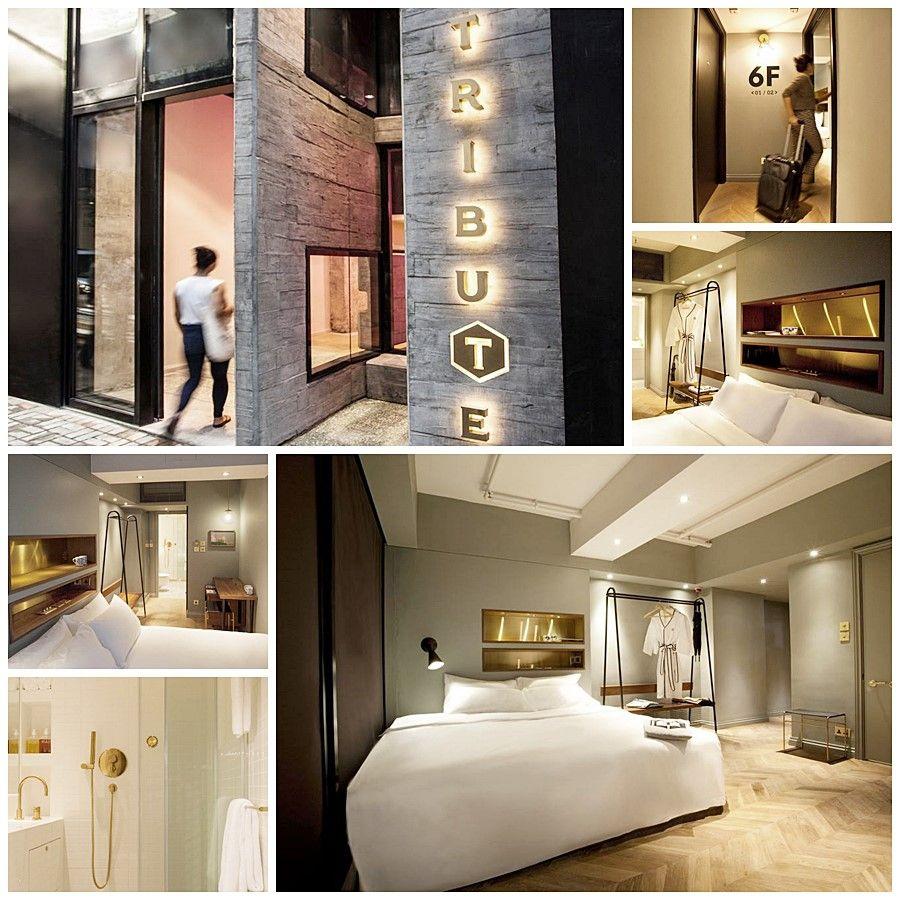 The tribute hotel en Hong Kong, interiorismo de habitaciones fresca y contemporánea