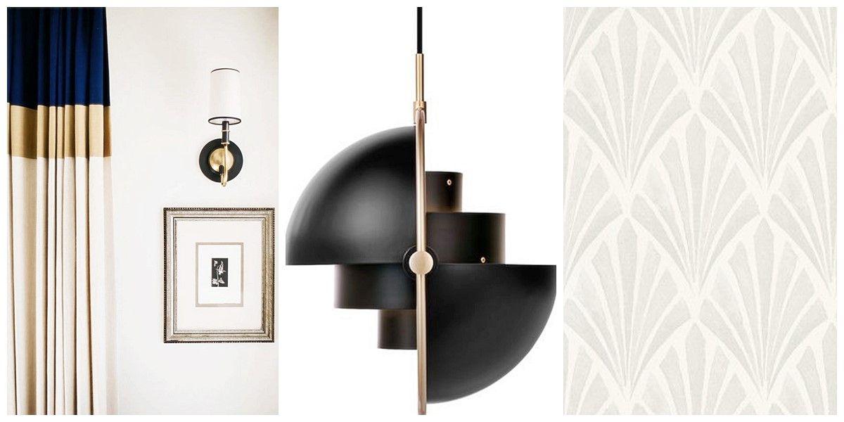Accesorios, lámpara y papel pintado de estilo Art Decó Moderno