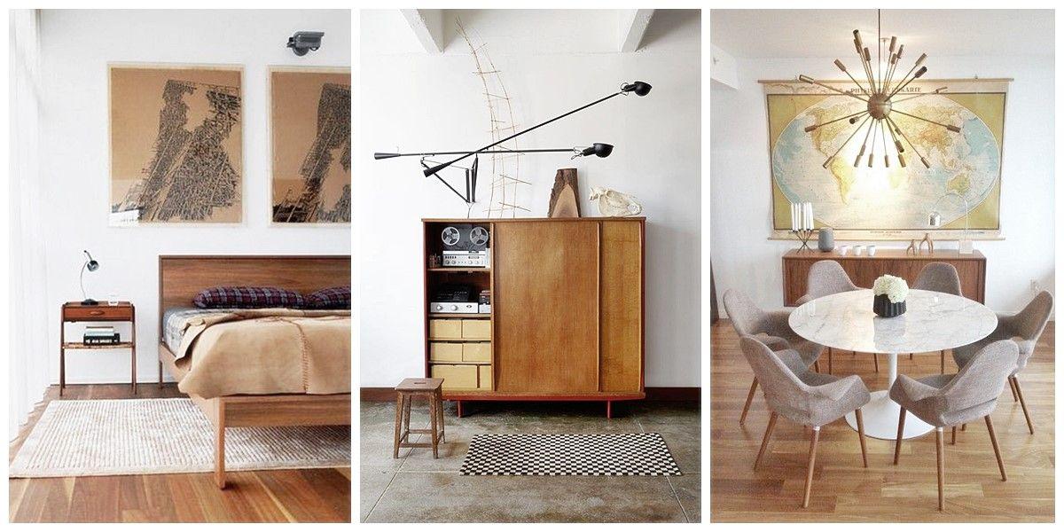 Decoración de interiores de estilo Mid Century Modern, espacios de casa, salón, comedor y habitación