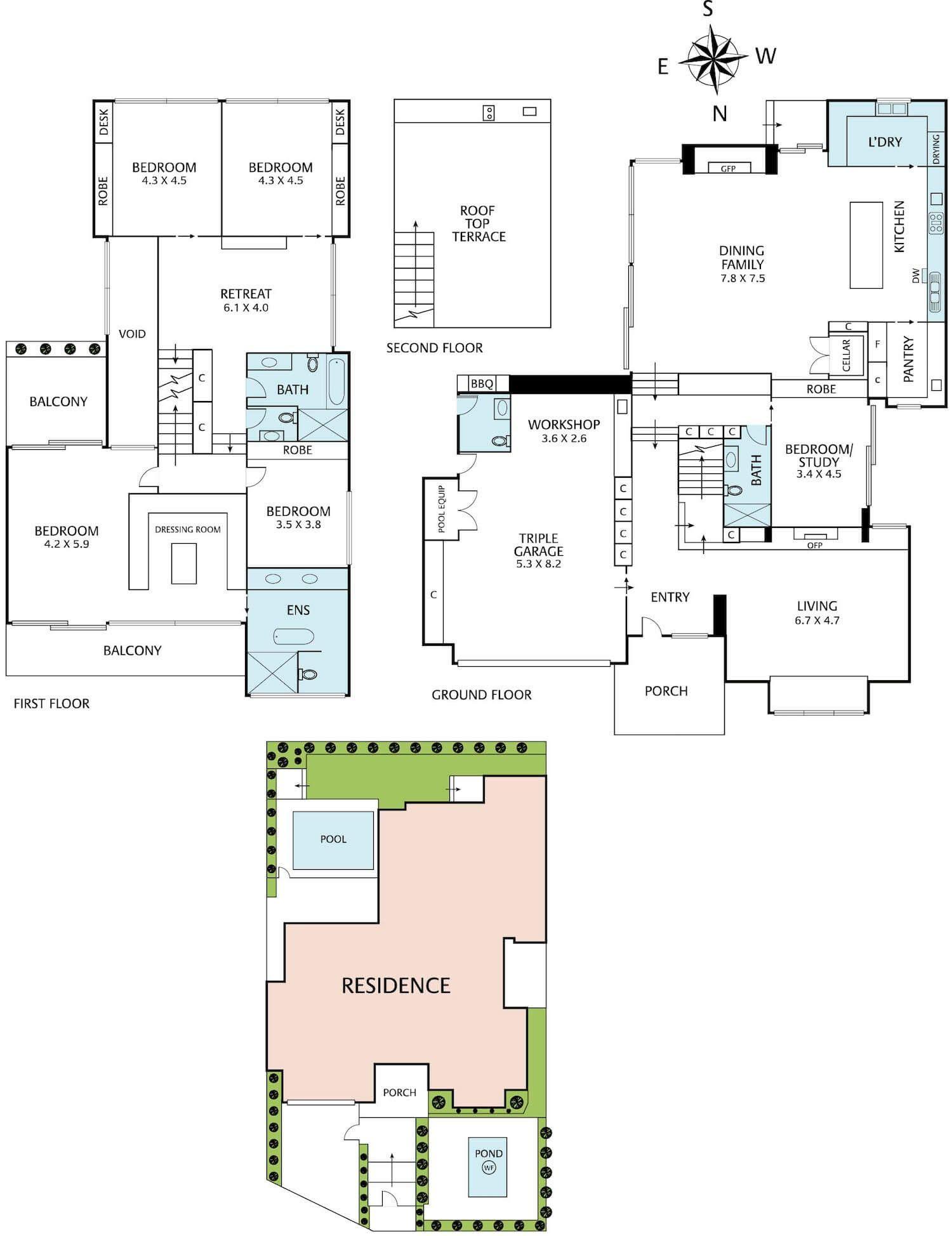 Planos de la casa, distribución y diseño del interior