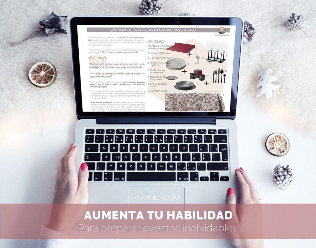 Ebook guía como decorar mesas en Navidad paso a paso por Ana Utrilla