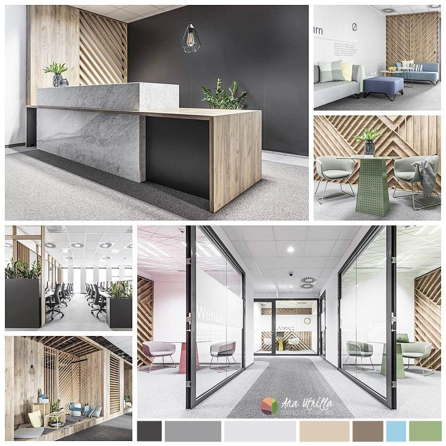 Moodboard de los materiales y colores empleados en el diseño de estas oficinas de estilo contemporáneo nórdico industrial