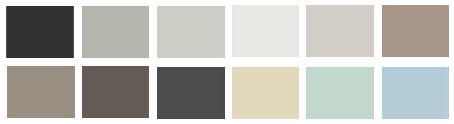 Paleta de colores más utilizada en el estilo noretnic para conseguir un espacio en calma y armonía