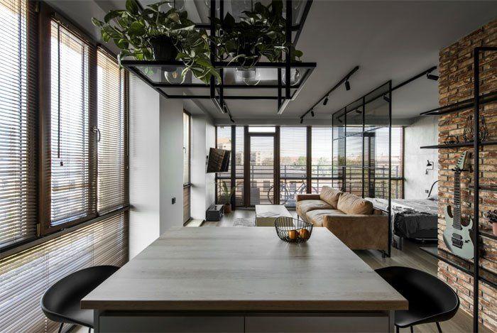 Estructura metálica negra para complementar cocina de estilo industrial