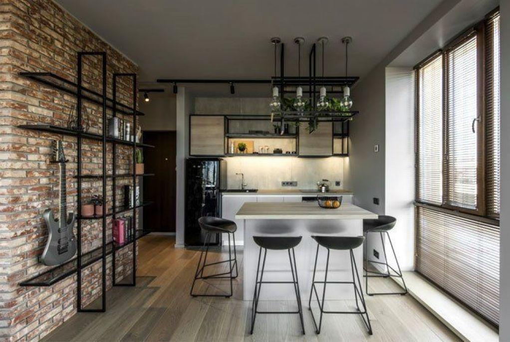 Cocina de estilo industrial masculino y minimalista de apartamento reducido de 46 m2