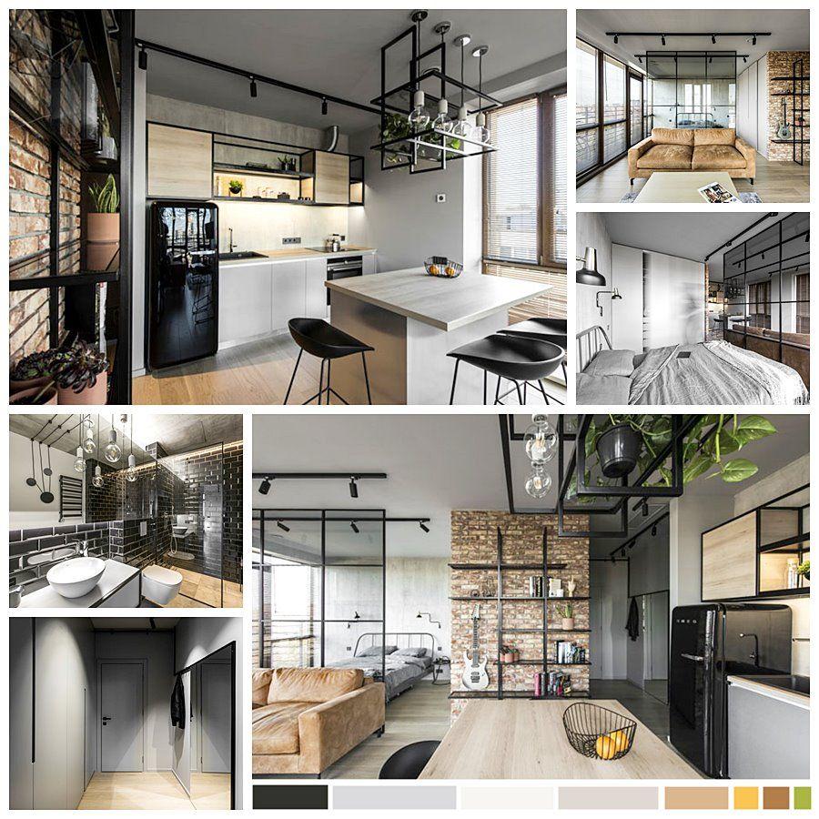Paleta de colores y materiales escogidos para diseñar y decorar apartamento de estilo industrial