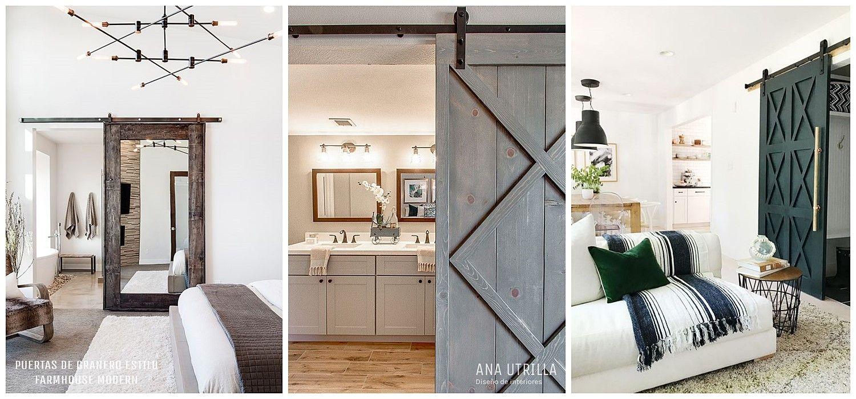 Puertas de estilo granero para sustituirlas en tu decoración de interiores de estilo farmhouse moderno @utrillanais