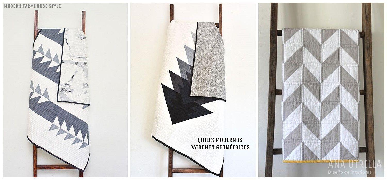 Edredones modernos, quilts de patrones y estampados geométricos, para vestir tu hogar con estilo modern farmhouse por @utrillanais www.anautrilla.com