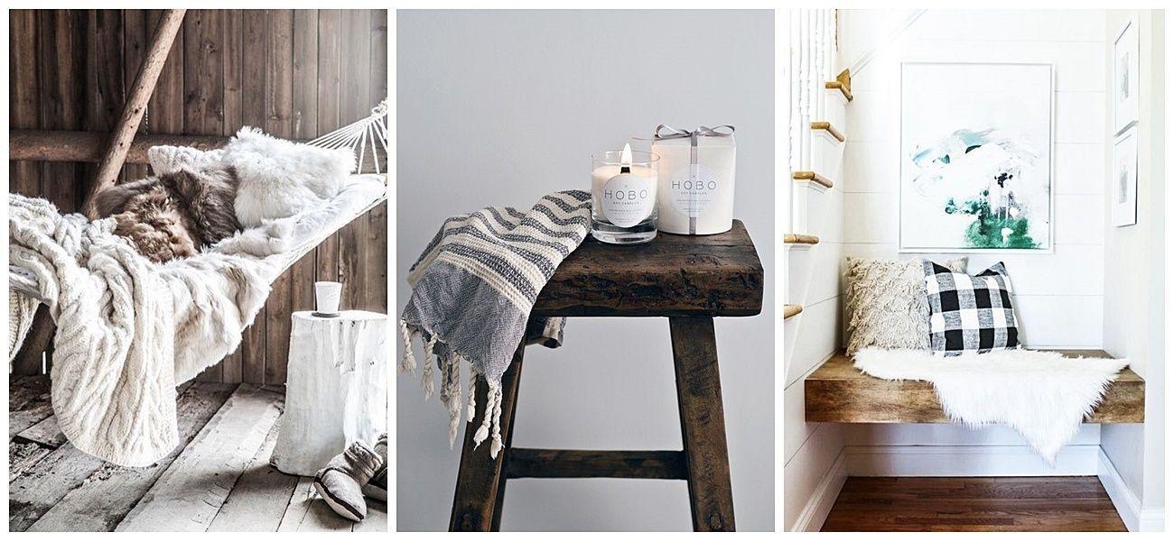 Elementos que no deben faltar para un hogar acogedor, como mantas, cojines o alfombras de fibras naturales @Utrillanais