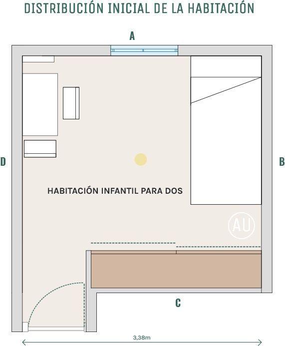 Planta proyecto habitación infantil decoración de interiores en Madrid estilo nórdico + clásico @Utrillanais