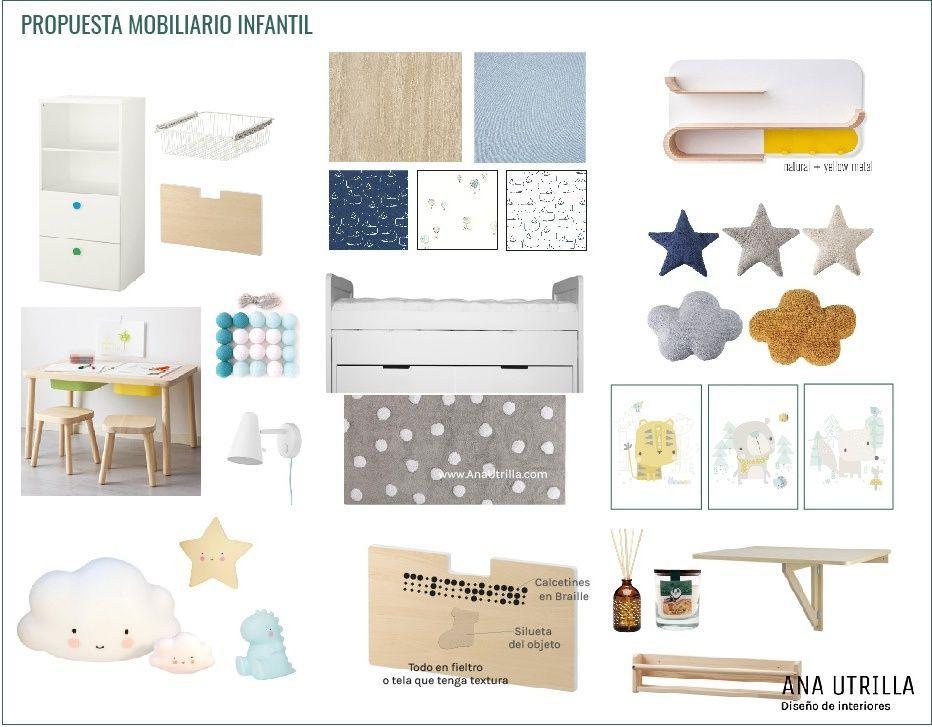 Propuesta de mobiliario para habitación infantil en Madrid de estilo nórdico @Utrillanais