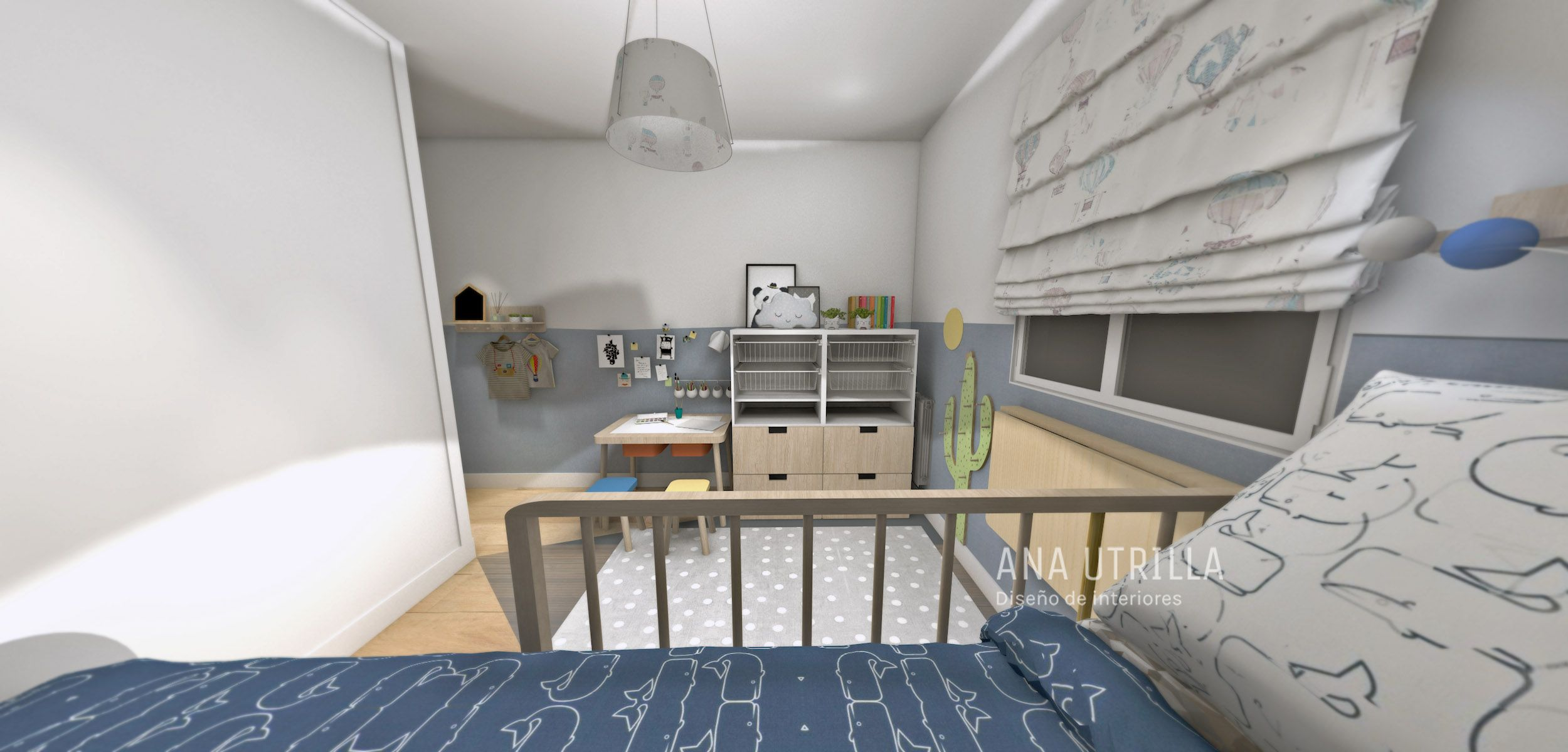 Proyecto decoración de interiores de habitación infantil en Madrid de estilo Nórdico por @Utrillanais