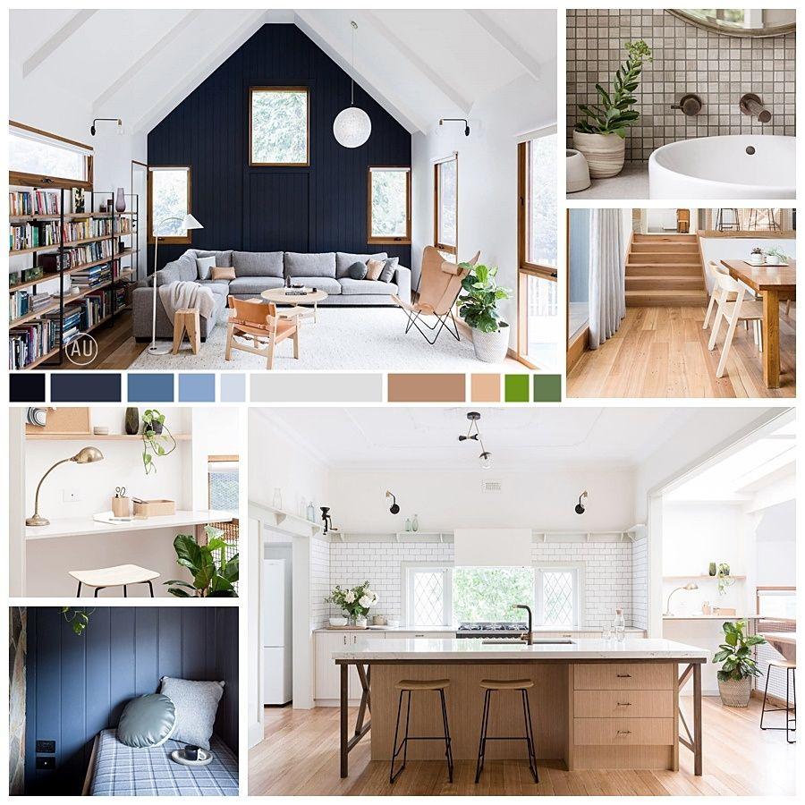 Moodboard de colores y materiales de vivienda-granero de estilo farmhouse moderno y tudor en Melbourne @Utrillanais