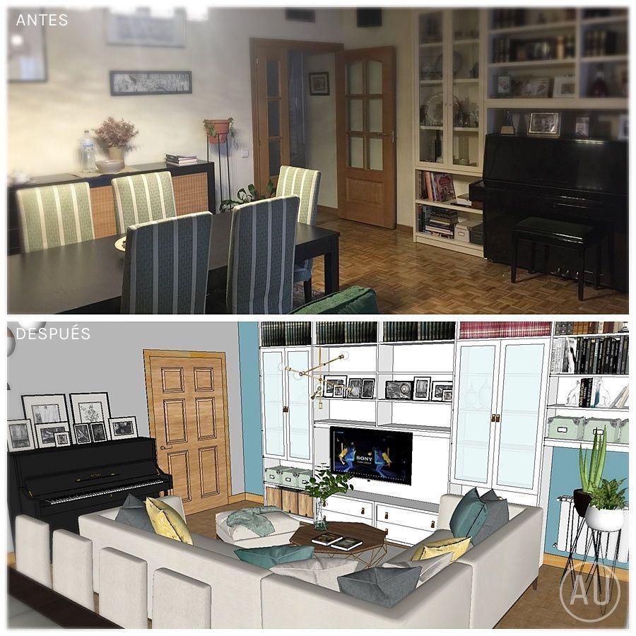 Antes y después, un salón-comedor de estilo nórdico-industrial-rústico, funcional, confortable y genuino @Utrillanais