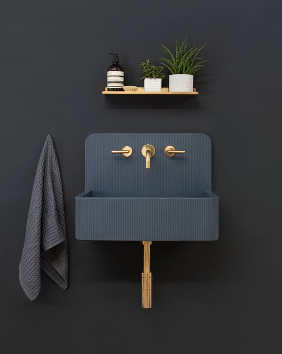 Decoración de interiores lavabos instalados en pared para el baño tendencia 2018