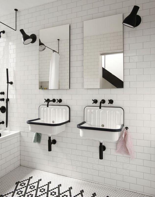 Decoración de interiores, lavabos montados en pared, tendencia 2018 @Utrillanais