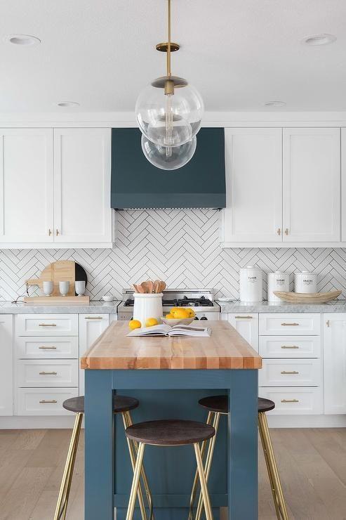 Decoración de interiores de estilo shaker cocina de color azul