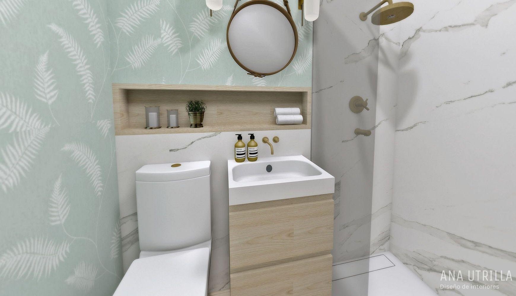Proyecto de interiorismo en Valladolid de diseño y decoración de interiores para baños y aseo de cortesía de estilo moderno y mid century @Utrillanais