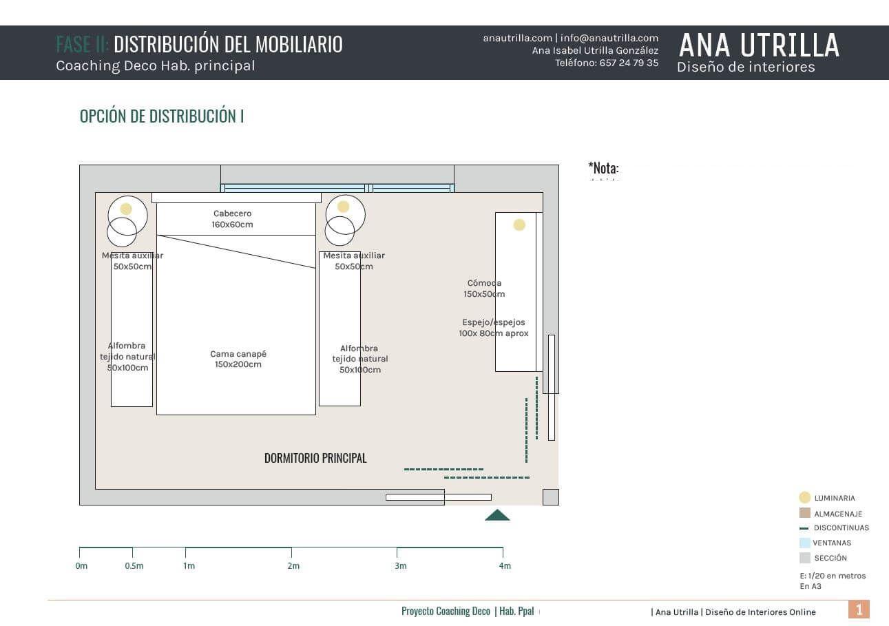 proyecto de interiorismo residencial en Vizcaya, de dormitorio principal de estilo rústico industrial, plano de planta por @Utrillanais