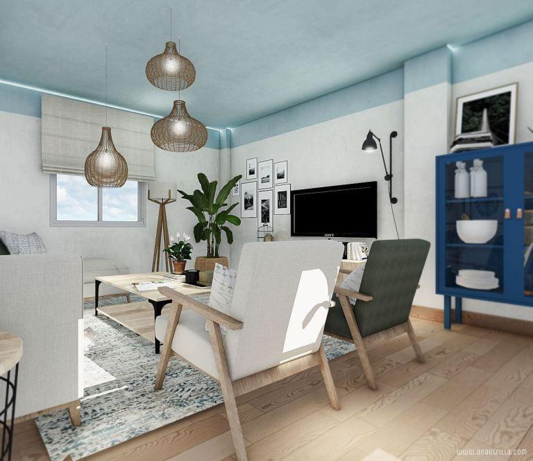 Proyecto de diseño de interiores en 3D de estilo nórdico boho mediterráneo en Alicante, de tonos azules #anautrillainteriorismo @utrillanais