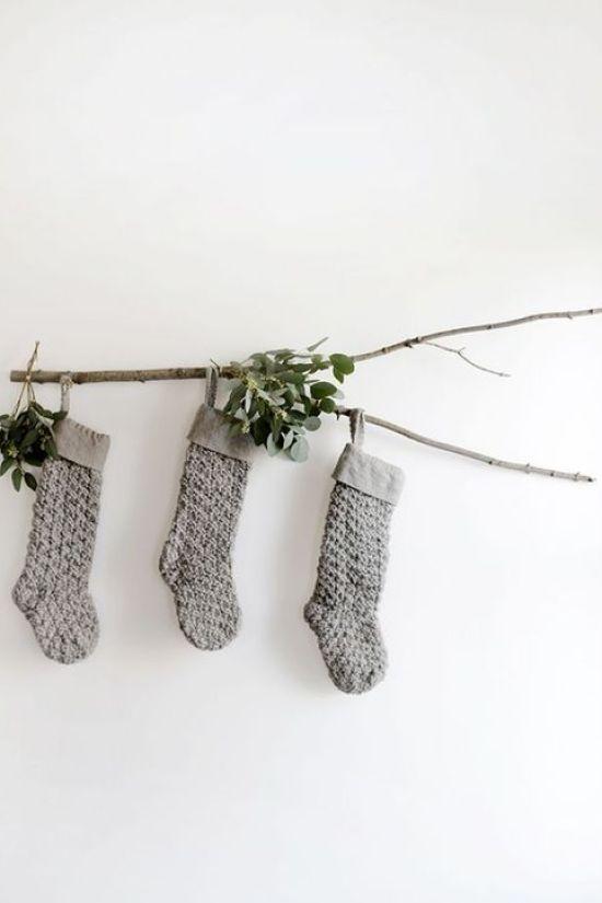 Calcetines de punto para adornar la Navidad en casa @Utrillanais