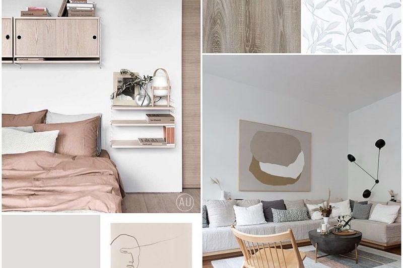 Interiorismo residencial de salón comedor y habitación principal en Madrid de estilo nórdico contemporáneo @Utrillanais