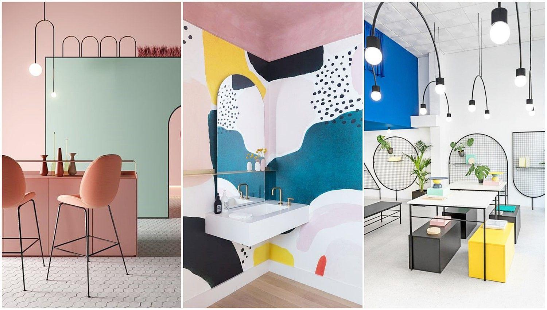 Tendencias en estilos de decoración de interiores como: el Neo Memphis, el Neo Art Decó o retro moderno de lo 70 y 80, interiores coloridos, vibrantes y alegres con formas geométricas. @Utrillanais