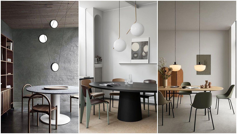 Tendencias en estilos de decoración de interiores como: el neo Art Decó, el estilo Neo Memphis, el Modernico o el nuevo retro moderno, espacios de salón comedor en tonos naturales poco saturados @Utrillanais