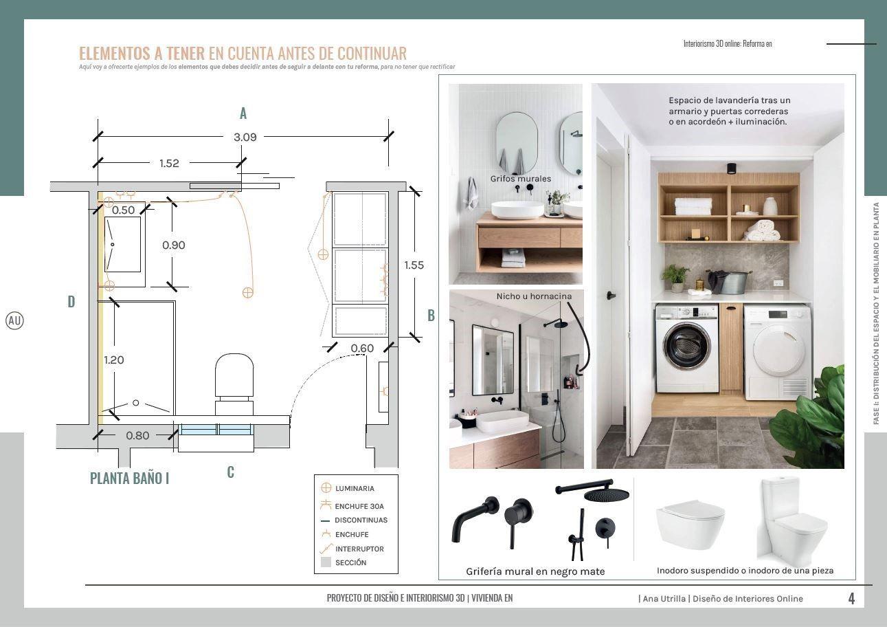 Plano proyecto reforma integral en Valladolid #DiseñoEinteriorismoonline de estilo gentleman por #AnaUtrillaInteriorismo @Utrillanais
