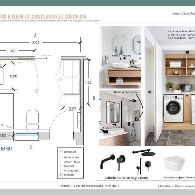 Plano proyecto reforma integral en Valladolid #DiseñoEinteriorismoonline de estilo gentleman por #AnaUtrillaInteriorismo, Razones por las que contratar a un interiorista para tu proyecto @Utrillanais