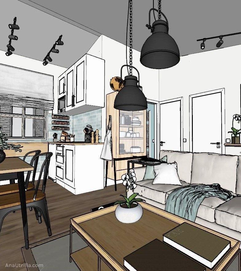 Proyectos de diseño de interiores y decoración para alojamientos turísticos rurales, de estilo nórdico-industrial Ana Utrilla