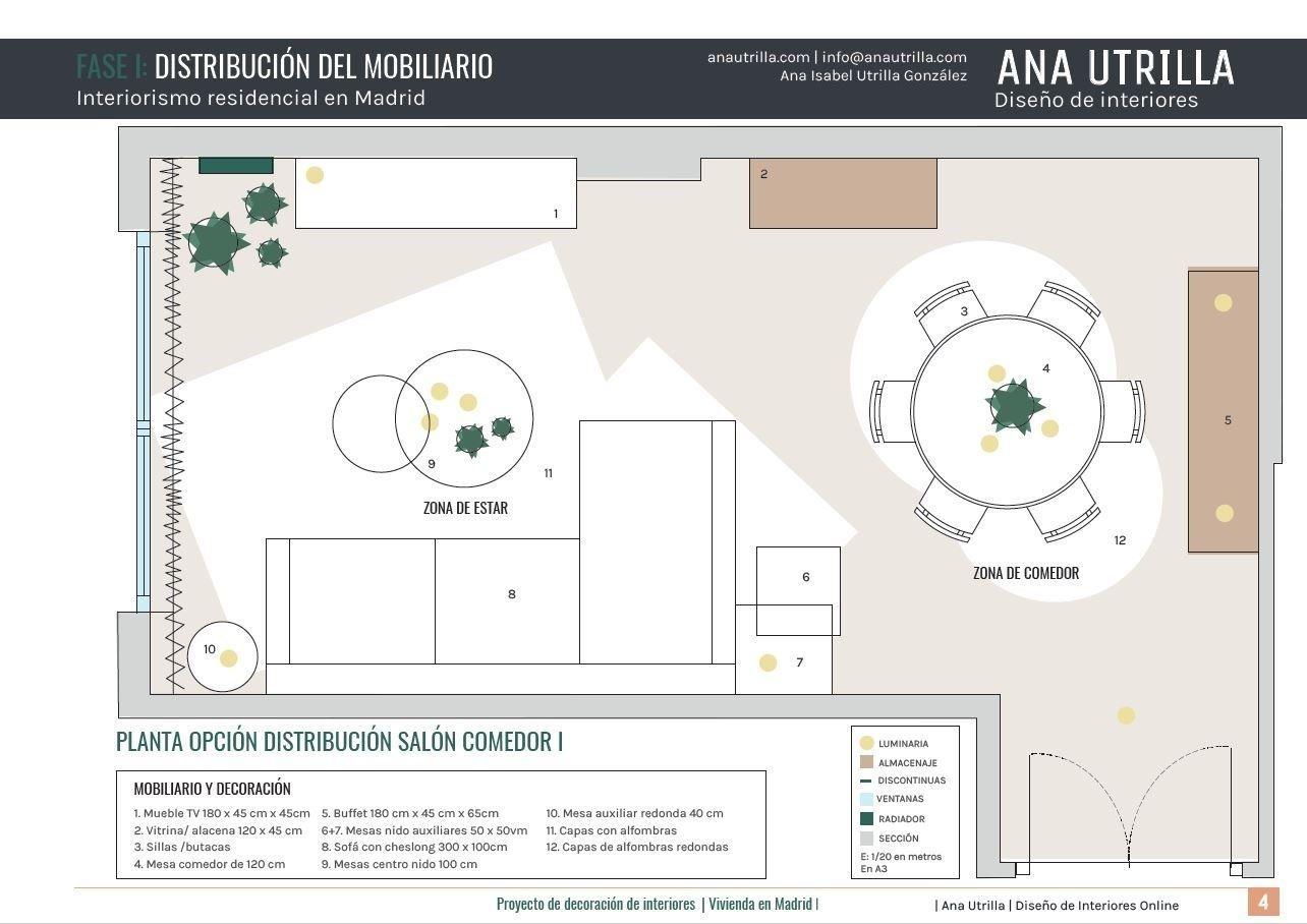 Plano de planta de salón comedor en Madrid, proyecto de diseño e interiorismo a medida en 3D #Slowinteriordesign #AnaUtrillainteriorismo @Utrillanais