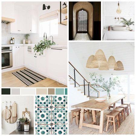 Moodboard de materiales, paleta de colores e imágenes de referencia para proyecto de diseño de interiores a medida en Córdoba de estilo farmhouse andalusí #Anautrillainteriorismo @utrillanais