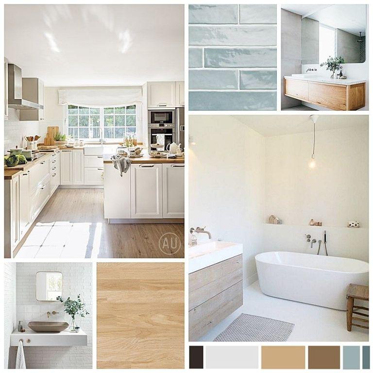 Moodboard de colores, materiales, imágenes de referencia de estilo nórdico y wellness para un proyecto de diseño e interiorismo 2D online @Utrillanais