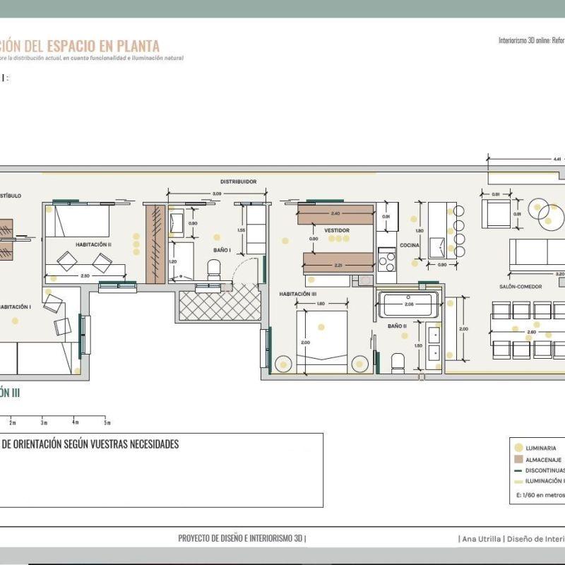 Plano de vivienda de segunda mano, proyecto de diseño e interiorismo en 3D en Valladolid #AnaUtrillainteiorismo #diseñodeinterioresamedida @utrillanais