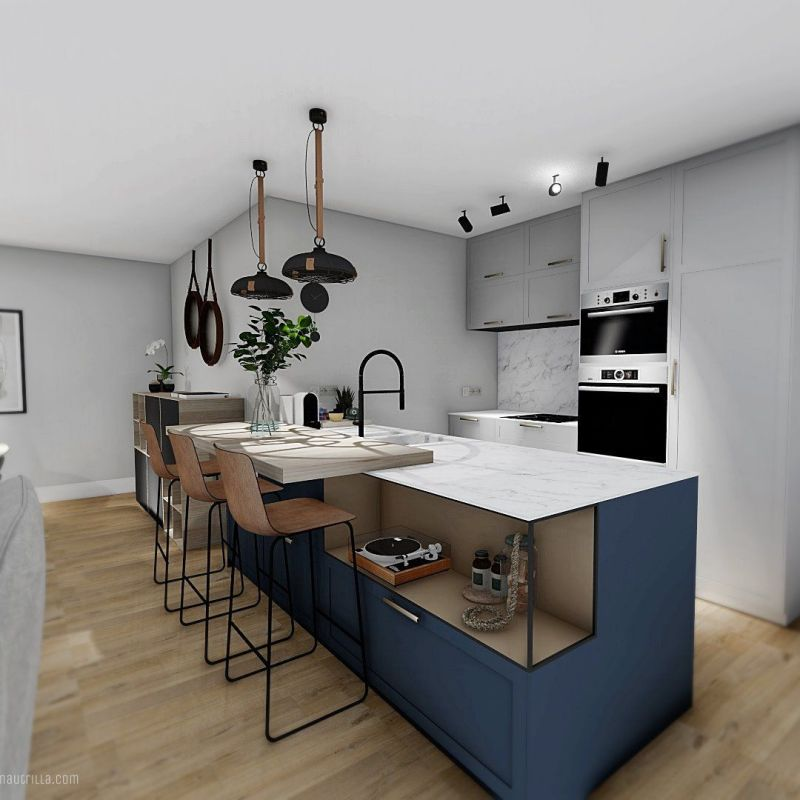 Proyecto de diseño e interiorismo 3D para reforma integral en Valladolid, espacio de salón comedor concepto abierto en tonos azules y neutros #AnaUtrillainteriorismo #slowinteriordesign @utrillanais