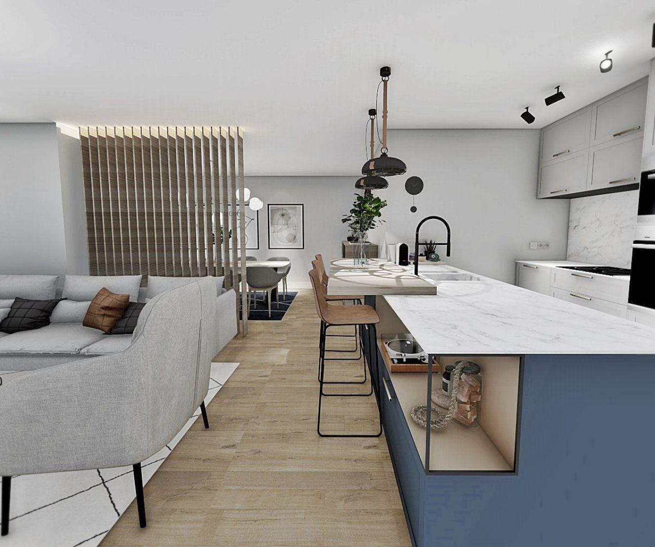 proyecto en 3D a medida, diseño de interiores online, espacio de salón comedor y cocina, de concepto abierto y tonos azules #Anautrillainteriorismo #slowinteriordesign @utrillanais