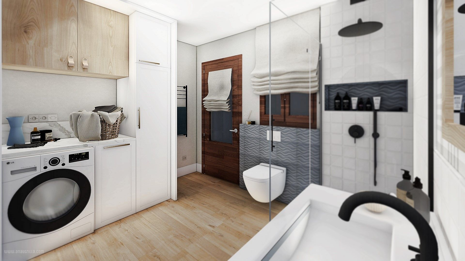 Espacio de baño con lavandería en 3D, proyecto de diseño de interiores a medida online #Anautrillainteriorismo @utrillanais