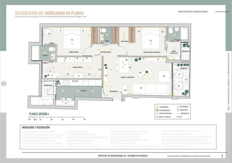 Plano de vivienda en Valencia, desarrollo de proyecto de diseño e interiorismo en 2D, transforma tu casa según tu estilo de vida #AnautrillaInteriorismo #Diseñoeinteriorismoamedida @Utrillanais