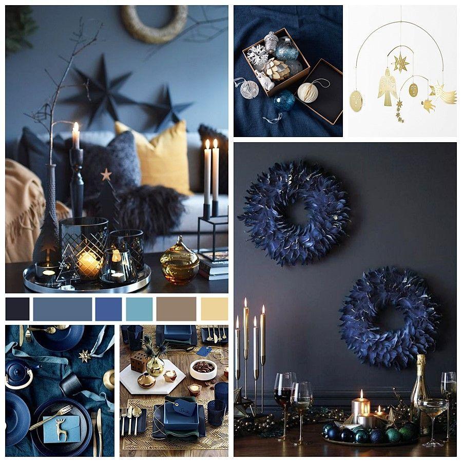 Moodboard tendencias decoración para Navidad 2020, color pantone 2020, paleta de colores noche estrellada @Utrillanais