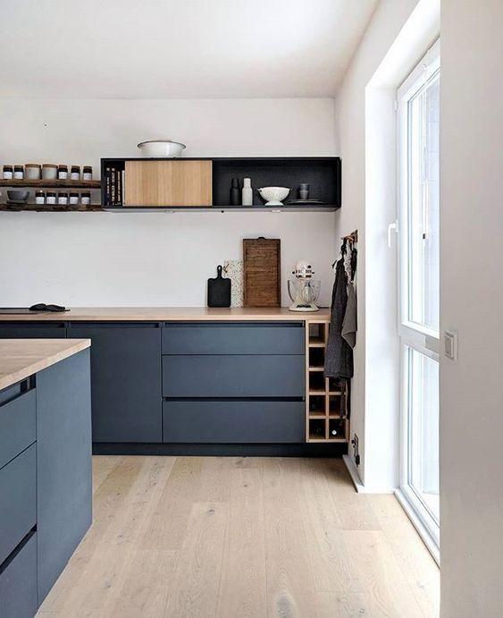 Cocina en tonos azules de estilo moderno y contemporáneo, ejemplo de cómo puedes introducir el color pantone 2020 en la decoración de tu hogar @utrillanais