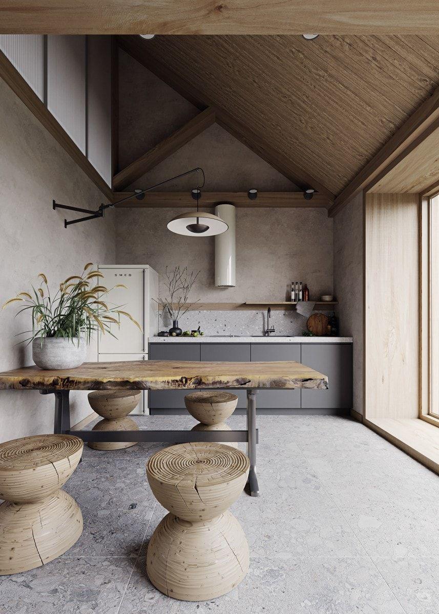 Cocina-comedor de estilo nórdico minimalista en tonos neutros, beiges, tendencia diseño e interiorismo 2020 @Utrillanais