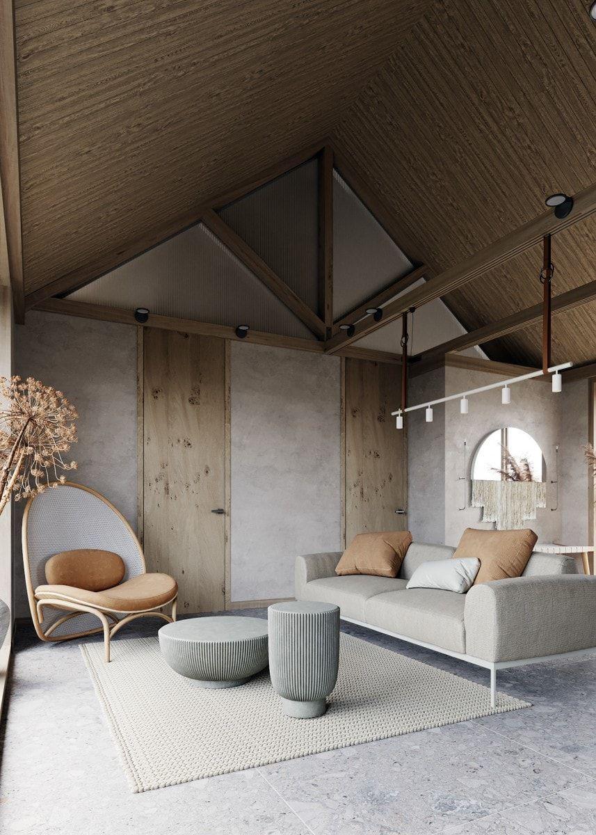 Espacio de salón comedor de estilo nórdico minimalista en tonos neutros, beiges, estilo de vida nómada, tendencias en diseño e interiorismo 2020 @Utrillanais