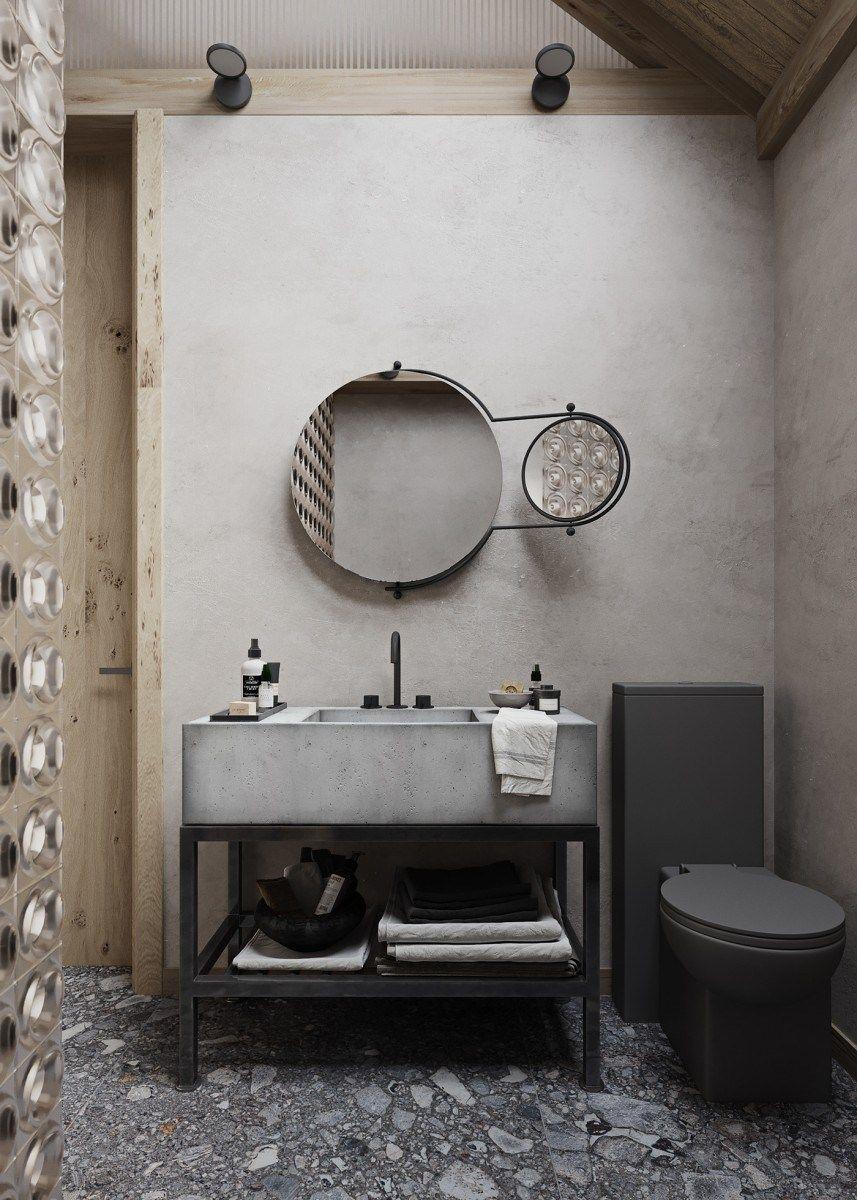 Espacio de baño de estilo nórdico minimalista en tonos neutros, beiges, tendencias en diseño e interiorismo 2020 @Utrillanais