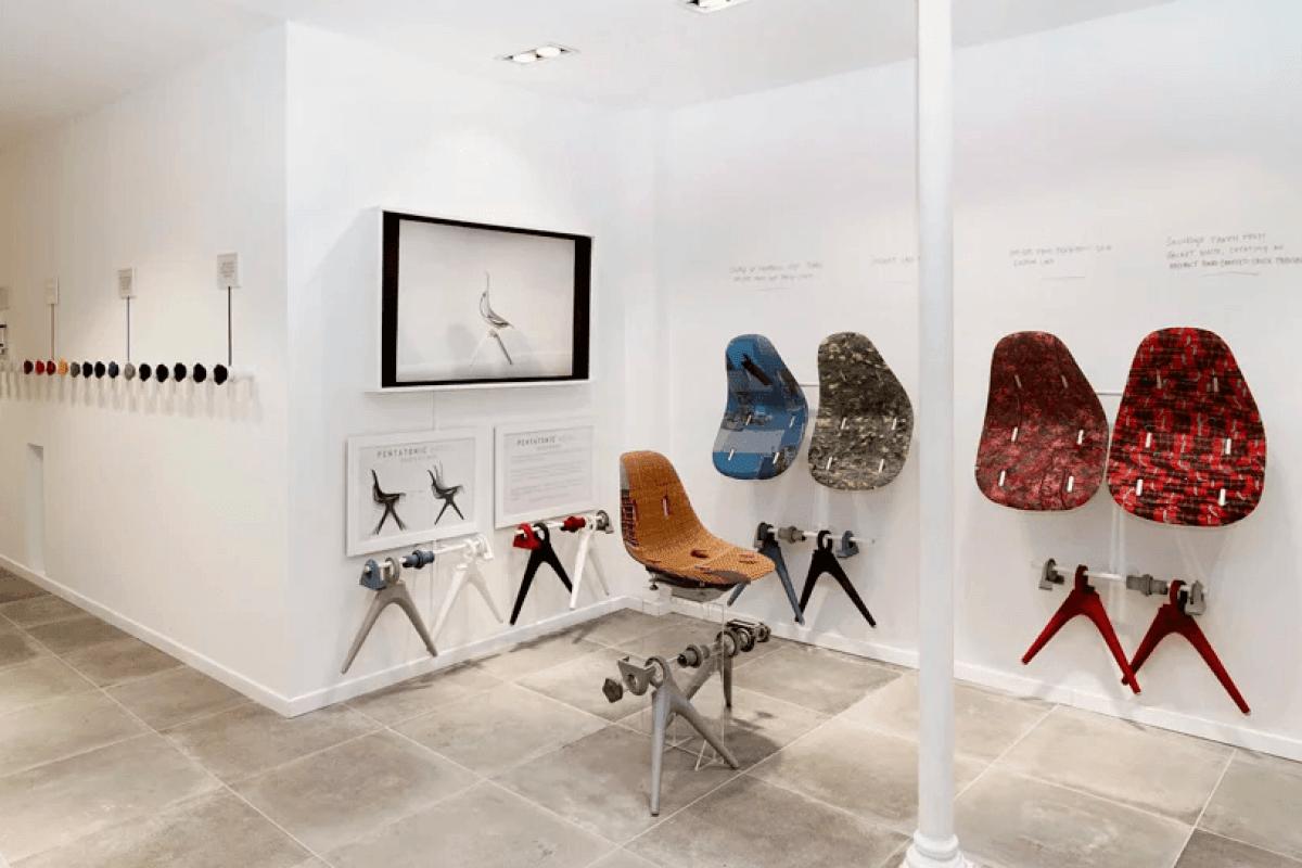 Piezas de diseño y mobiliario de Pentatonic, empresa que utiliza material reciclado para crear sus diseños. diseño sostenible tendencia 2020 @Utrillanais