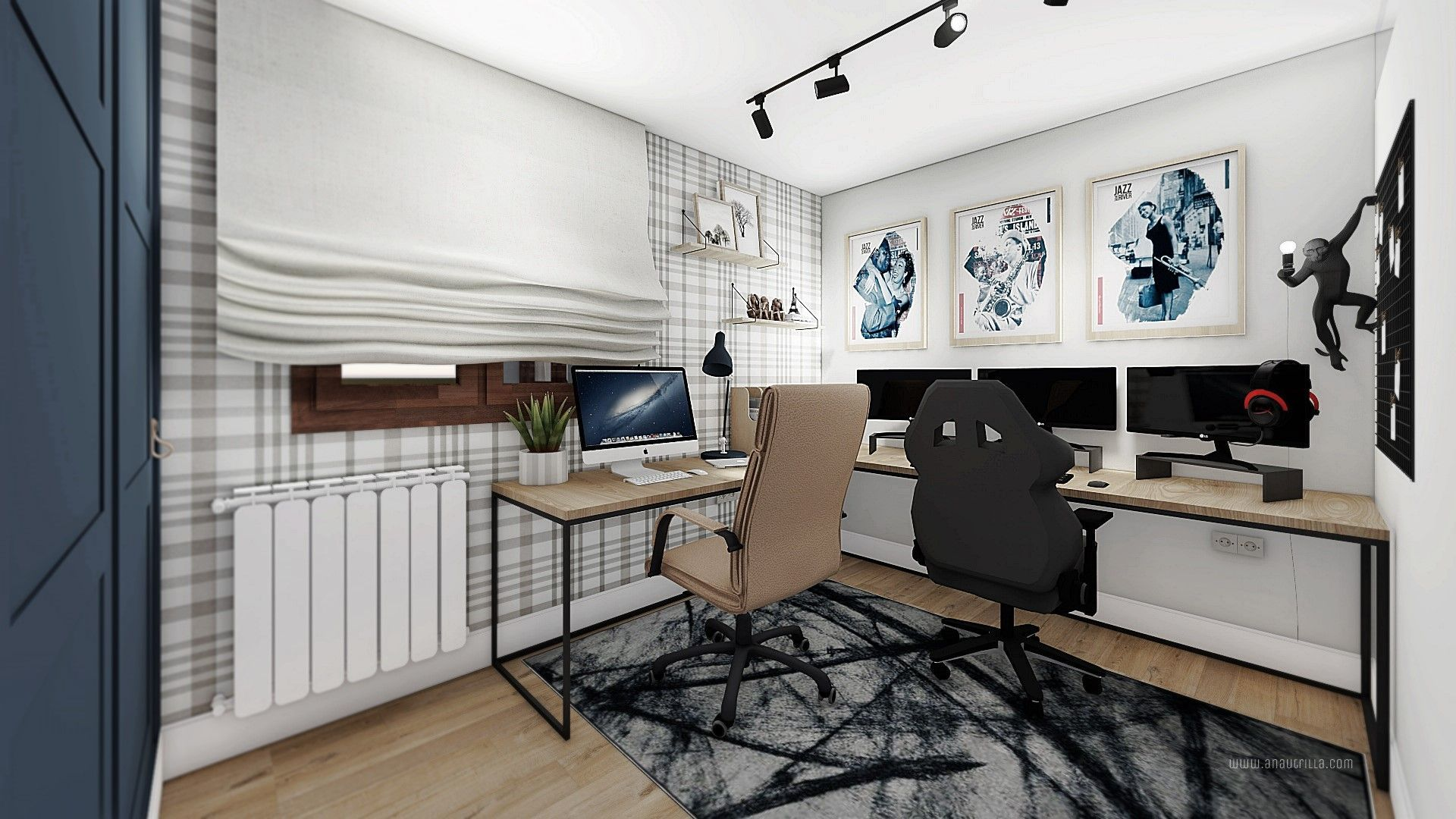 Zona de despacho para gamer, proyecto de diseño e interiorismo 3D. reforma integral en Valladolid @Utrillanais