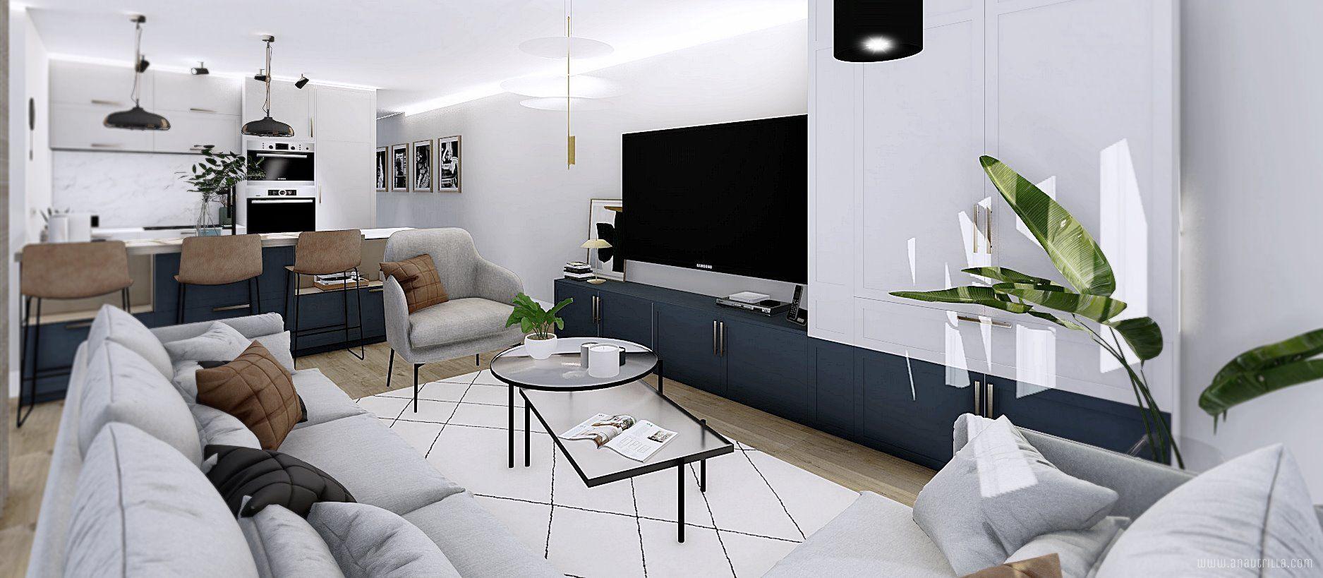Espacio de salón cocina en 3D, vivienda de segunda mano con diseño a medida @utrillanais